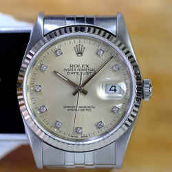 Rolex Datejust 16234 Silver Factory Diamond Dial-ALL FACTORY