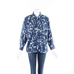 Burberry Blouse Blue Floral Cotton SZ 42