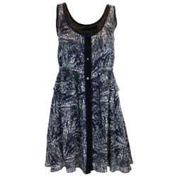 Proenza Schouler Blue & Black Printed Sleeveless Silk Dress