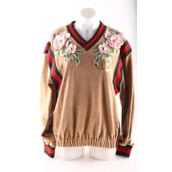Gucci Dapper Dan V-neck Metallic Brown Sweater