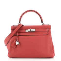 Kelly Handbag Rouge Casaque Clemence with Palladium Hardware 28