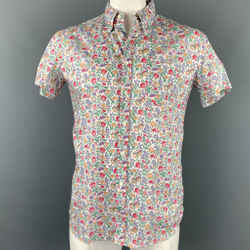 MIU MIU Size M Multi-Color Floral Cotton Button Up Short Sleeve Shirt