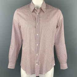 LOUIS VUITTON Size XL Rose & Brick Plaid Cotton Button Up Long Sleeve Shirt