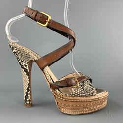 Prada Size 9.5 Phython Skin Leather Platform Strappy Peep Sandals