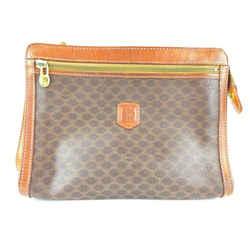 Celine Brown Monogram Macadam Zip Pouch Cosmetic Case Clutch 2cel519