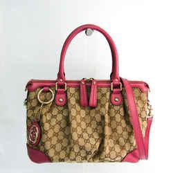 Gucci Sukey Diamante 247902 Women's Leather,GG Canvas Handbag,Shoulder  BF524444