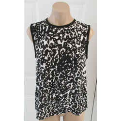 A.l.c Black And White Silk Print Sleeveless Blouse - Size Small
