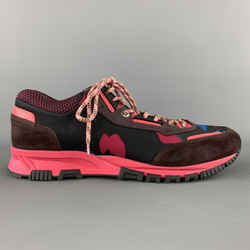 Lanvin Size 10 Black & Pink Mixed Materials Nylon Lace Up Sneakers
