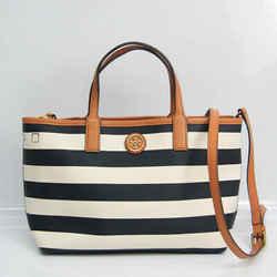 Tory Burch Striped Women's Leather,PVC Handbag,Shoulder Bag Brown,Cream BF530778