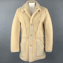 Maison Martin Margiela X H&m Size L Beige Textured Polyester / Modacrylic Coat