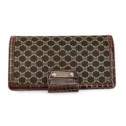 "Celine: Brown, Monogram ""macadam"" & Leather Logo Long Wallet (mp)"