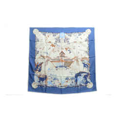 Authentic Hermes 100% Silk Scarf Apres le Deluge Blue Zoe Vintage 90cm Carre