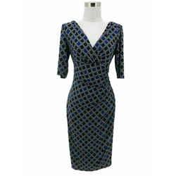 N1283 Lauren Ralph Lauren Designer Dress Sz 8 Medium Blue Black Diamond Bodycon