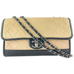 Chanel Lambskin Beige x Black Bicolor Medium Quilted Chain Flap 42C17