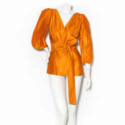 Saint Laurent Rive Gauche Orange Bohemian Blouse with Belt