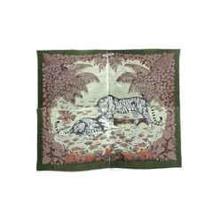 Authentic Hermes 100% Cotton Pareo Wrap Tigres Du Bengale Green Dallet Vintage 164cm