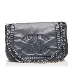 Vintage Authentic Chanel Blue CC Chain Lambskin Leather Shoulder Bag France