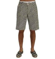 Dolce & Gabbana White Black Striped Hemp Casual Men's Shorts