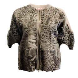 Marni Taupe Lamb Short Sleeve Jacket