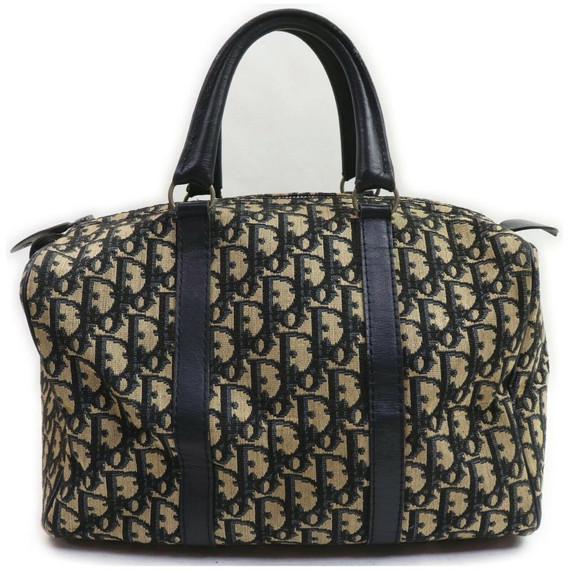 Christian Dior Navy Blue Monogam Trotter Boston Duffle Bag 862000