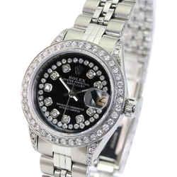 Rolex Lady Datejust Black Diamond Dial Diamond Lugs Diamond Bezel 26mm Watch