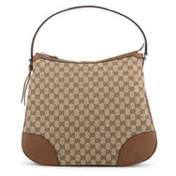 New Gucci Large Bree Canvas Beige Brown Leather Gg Guccissima Hobo Shoulder Bag