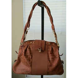 JOHN GALIANO Brown Leather Bag with Writing on the Body & Twisted Shoulder Strap