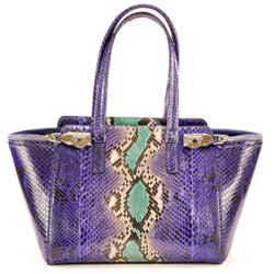 Salvatore Ferragamo Exotic Snake Verve Blue & Multicolor Python Skin Leather Shoulder Bag