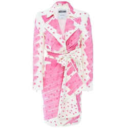 Moschino Pink and White Printed Poplin Zip Dress