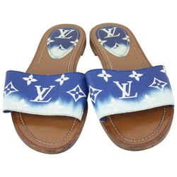 Louis Vuitton 36.5 Women's Blue Monogram Escale Lock It Mules Sandals Slides 825lv57
