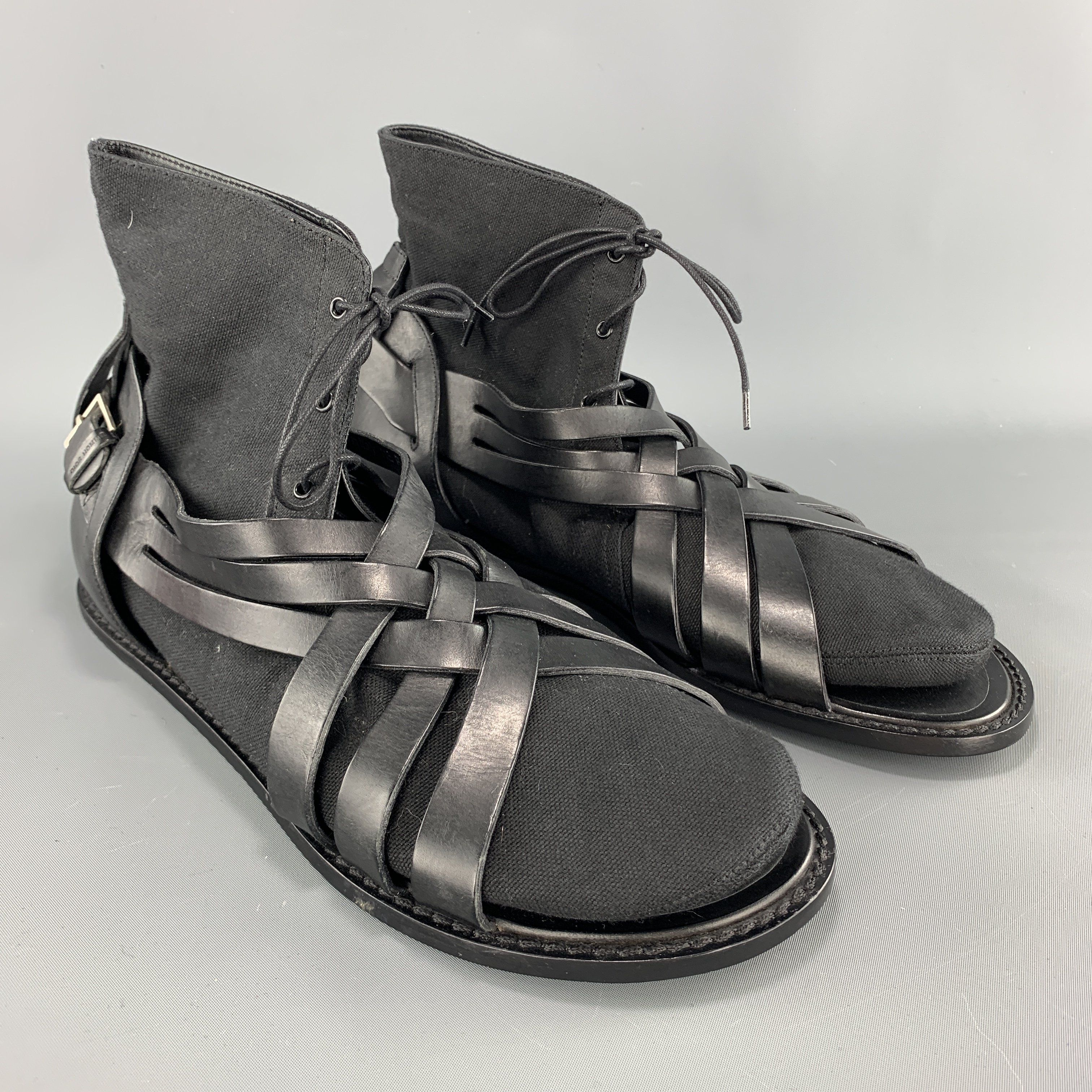 It 45 Black Leather Canvas Sock Sandal