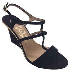 Salvatore Ferragamo Black Suede Wedge Heel Sandals