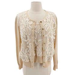 Escada Size 40 Peach Wool with Silk Sweater Set
