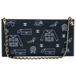 Chanel 2way Black Fabric Cc Shoulder Evening Bag