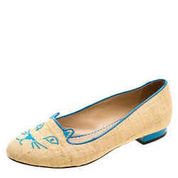 Charlotte Olympia Beige and Blue Raffia Kitty Flats Size 37