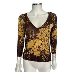Max Mara Multicolor Brown & Orange Embellished Beaded Long Sleeve Sweater Sz S