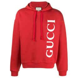 NEW Gucci Red Large L Big Logo Printed Cotton Hoodie Sweatshirt
