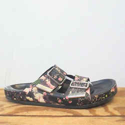 38 / 8 US - Givenchy Black Floral Double Buckle Strap Slip On Sandals 1217RM