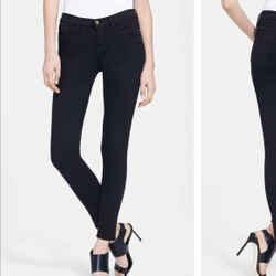 $210 Frame Le Skinny De Jeanne Crop Black Jeans Film Noir Sz 24