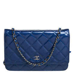 Chanel Blue Quilted Patent Leather Classic Wallet on Chain