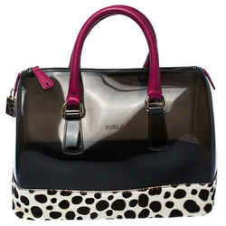 Furla Black/Fuchsia Rubber and Leather Leopard Detailed Candy Satchel