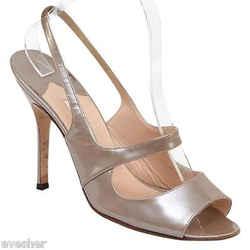 Manolo Blahnik Patent Leather Slingback Sandal Open Toe Pump Shoe Sz 39