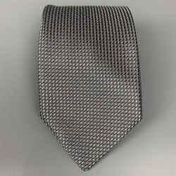 ERMENEGILDO ZEGNA Slate & Silver Zig-Zag Silk Tie