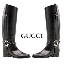 Gucci New Charlotte Tall Black Leather Riding Boot With Large Silver G Sz 38 7.5