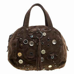 Marni Dark Brown Suede Embellished Satchel