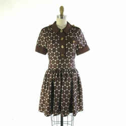 6 - Marc by Marc Jacobs Brown Silk Dot Gold Button Up Short Sleeve Dress 0000MB