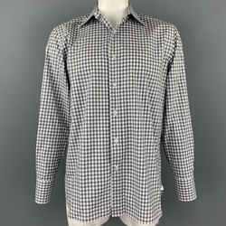TOM FORD Size XL Grey & White Checkered Cotton Button Up Long Sleeve Shirt