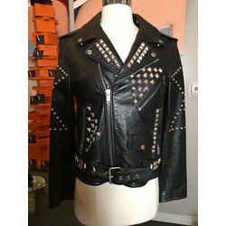 Saint Laurent Size 42 Black Leather Silver Studs Moto Jacket 24000-131-1820