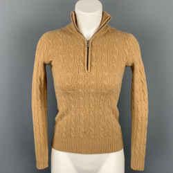 RALPH LAUREN Black Label Size XS Camel Cable Knit Cashmere Half Zip Sweater