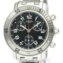 Polished HERMES Clipper Diver Chronograph Quartz Mens Watch CL2.910 BF534190